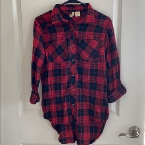 Black and red check button down flannel